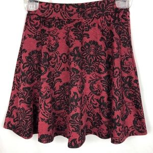 Joe B knit fit & flare pull on skirt damask red